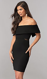 Image of short off-the-shoulder homecoming party dress. Style: MCR-2313S Detail Image 1