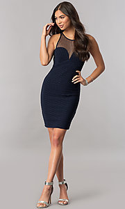 Image of empire-waist illusion-sweetheart navy party dress. Style: MCR-2258S Detail Image 1
