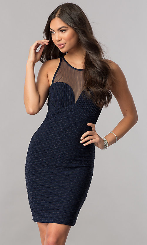 Image of empire-waist illusion-sweetheart navy party dress. Style: MCR-2258S Front Image