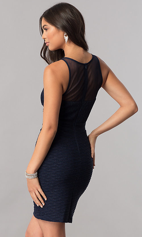 Image of empire-waist illusion-sweetheart navy party dress. Style: MCR-2258S Back Image