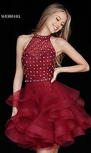 Image of short racerback Sherri Hill homecoming dress. Style: SH-51559 Front Image
