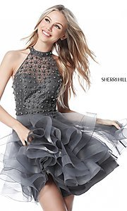 Image of short racerback Sherri Hill homecoming dress. Style: SH-51559 Detail Image 3
