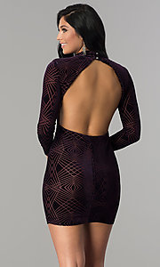 Image of sleeved open-back velvet short plum party dress. Style: EM-FNA-3347-534 Back Image