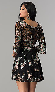 Image of short black lace a-line party dress with embroidery. Style: EM-FNI-3322-013 Back Image