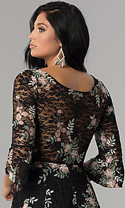 Image of short black lace a-line party dress with embroidery. Style: EM-FNI-3322-013 Detail Image 2