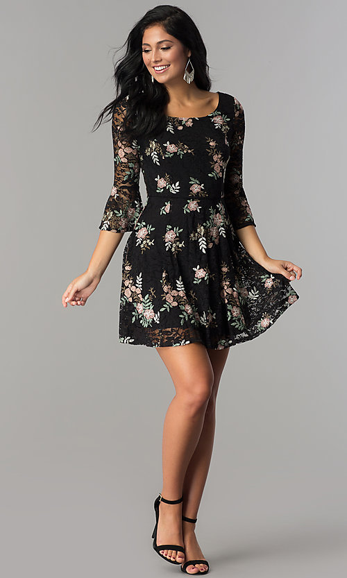Image of short black lace a-line party dress with embroidery. Style: EM-FNI-3322-013 Detail Image 3