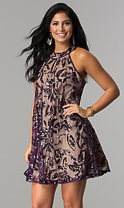 Image of plum purple short shift party dress with sequins. Style: EM-EWY-3281-534 Front Image
