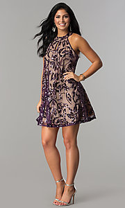Image of plum purple short shift party dress with sequins. Style: EM-EWY-3281-534 Detail Image 2