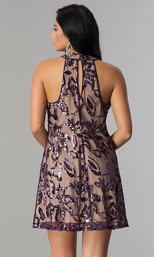 Image of plum purple short shift party dress with sequins. Style: EM-EWY-3281-534 Back Image