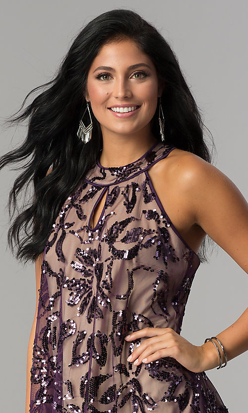 Image of plum purple short shift party dress with sequins. Style: EM-EWY-3281-534 Detail Image 1