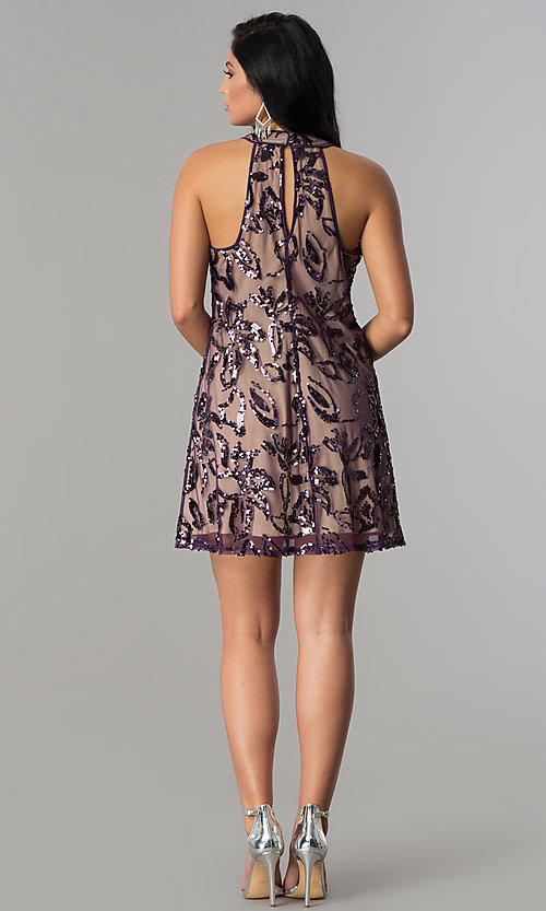 Image of plum purple short shift party dress with sequins. Style: EM-EWY-3281-534 Detail Image 3