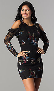 Sleeved Embroidered Black Lace Short Party Dress