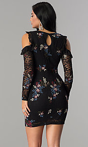 Image of sleeved embroidered black lace short party dress. Style: EM-FMT-3378-003 Back Image
