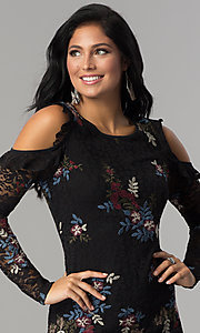 Image of sleeved embroidered black lace short party dress. Style: EM-FMT-3378-003 Detail Image 1