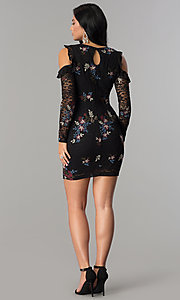 Image of sleeved embroidered black lace short party dress. Style: EM-FMT-3378-003 Detail Image 3