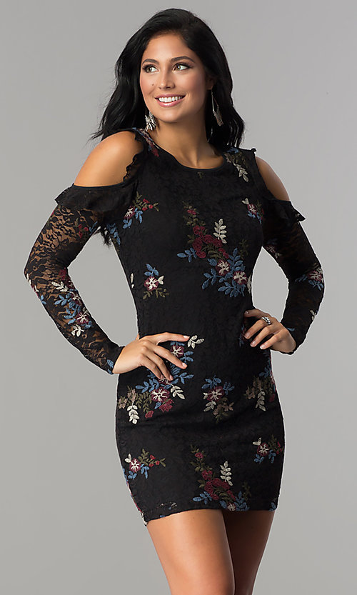 Image of sleeved embroidered black lace short party dress. Style: EM-FMT-3378-003 Front Image
