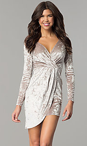 Image of velvet short holiday party dress with long sleeves. Style: EM-FLV-3238-240 Front Image