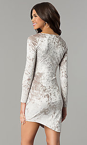 Image of velvet short holiday party dress with long sleeves. Style: EM-FLV-3238-240 Back Image