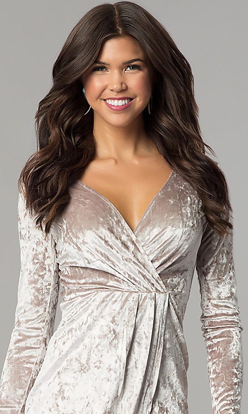 Image of velvet short holiday party dress with long sleeves. Style: EM-FLV-3238-240 Detail Image 2