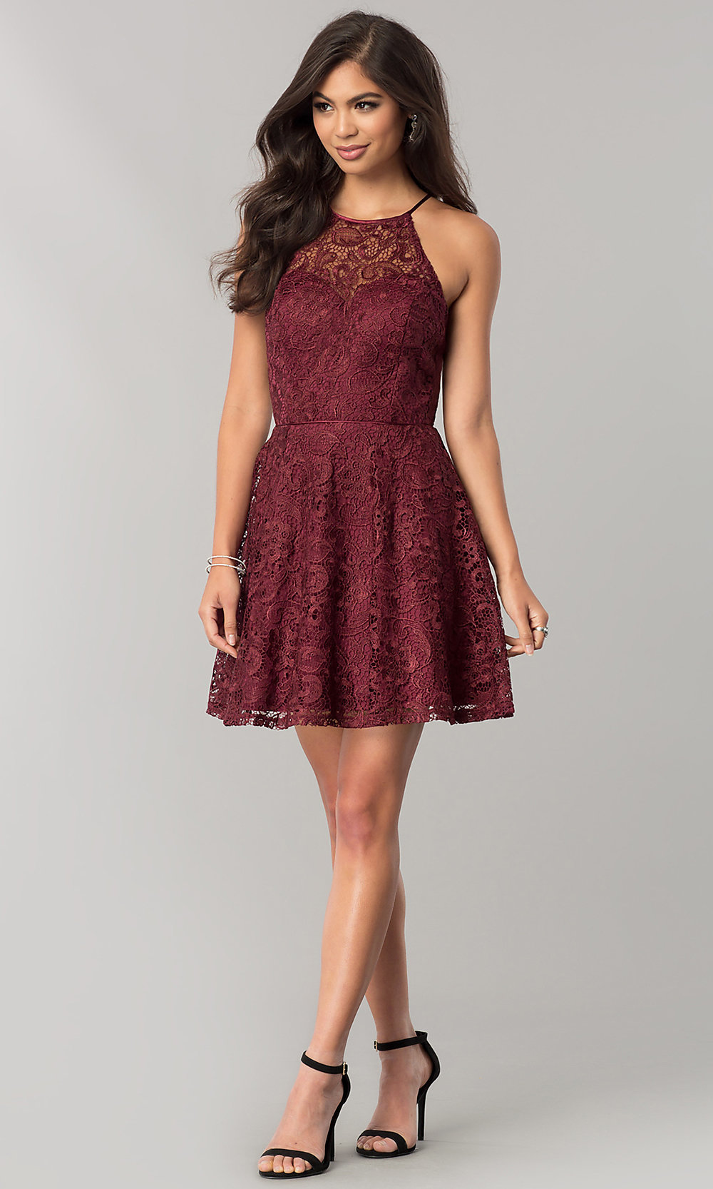 46f66910f59 Image of wine red lace short junior-size homecoming dress. Style  FLA-. Tap  to expand