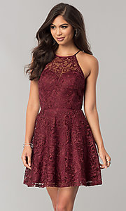 Wine Red Lace Short Junior-Size Homecoming Dress
