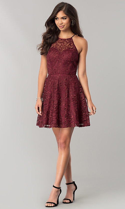 Image of wine red lace short junior-size homecoming dress. Style: FLA-50141 Detail Image 1
