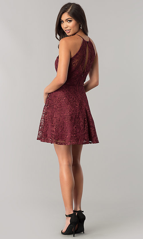 Image of wine red lace short junior-size homecoming dress. Style: FLA-50141 Detail Image 2