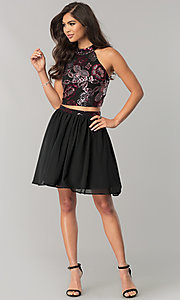 Image of short two-piece homecoming dress with sequins. Style: FLA-45144 Detail Image 1
