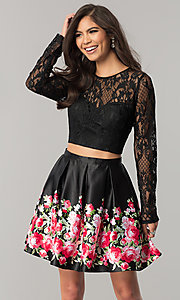 Two-Piece Black Homecoming Dress with Print Skirt