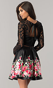 Image of two-piece black homecoming dress with print skirt. Style: FLA-93092 Back Image