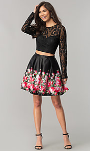 Image of two-piece black homecoming dress with print skirt. Style: FLA-93092 Detail Image 1