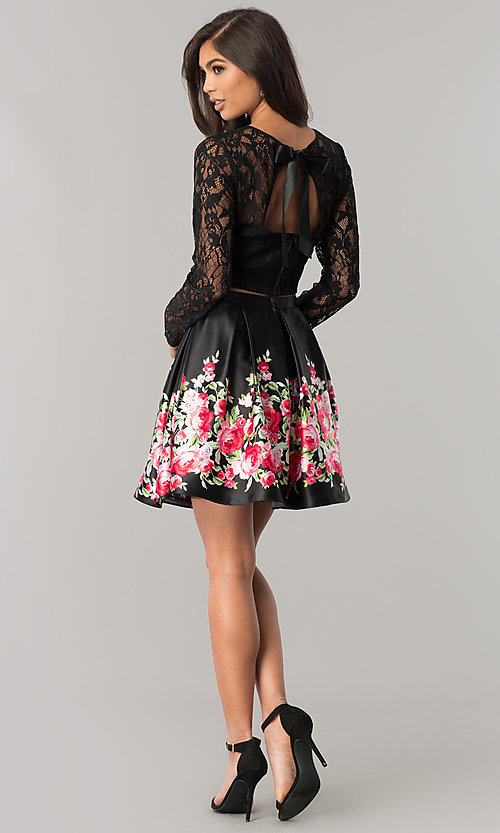 Image of two-piece black homecoming dress with print skirt. Style: FLA-93092 Detail Image 2