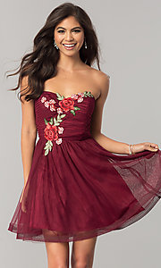 Short Wine Red Homecoming Dress with Embroidery