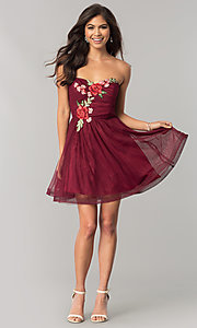 Image of short wine red homecoming dress with embroidery. Style: FLA-30145 Detail Image 1