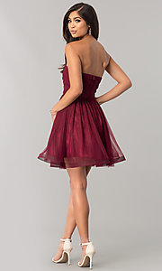 Image of short wine red homecoming dress with embroidery. Style: FLA-30145 Detail Image 2
