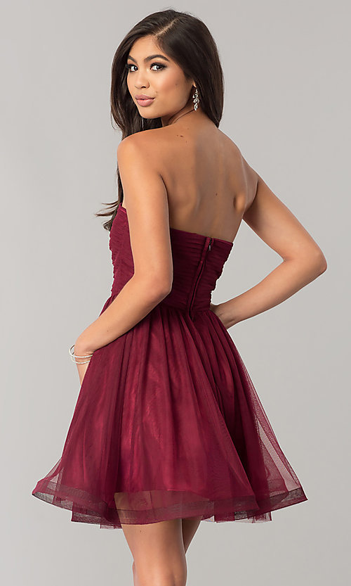 Image of short wine red homecoming dress with embroidery. Style: FLA-30145 Back Image
