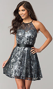 Image of short sequined junior-size a-line homecoming dress. Style: FLA-42088 Front Image