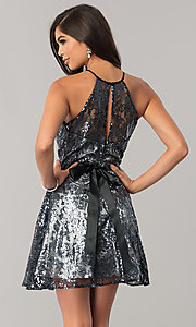 Image of short sequined junior-size a-line homecoming dress. Style: FLA-42088 Back Image