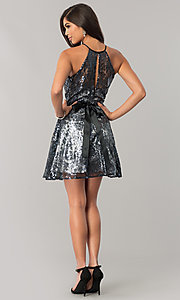 Image of short sequined junior-size a-line homecoming dress. Style: FLA-42088 Detail Image 2