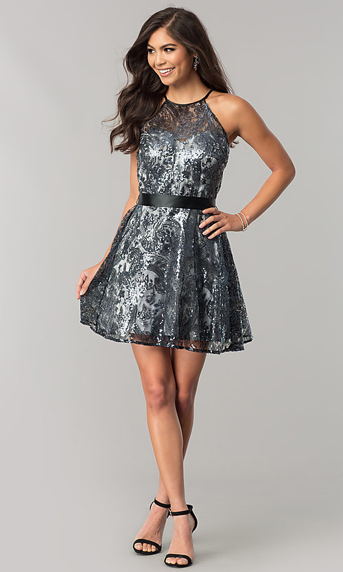 Image of short sequined junior-size a-line homecoming dress. Style: FLA-42088 Detail Image 1