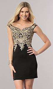 Image of short off-shoulder homecoming dress with applique. Style: DQ-2001 Detail Image 1
