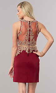 Image of mock two-piece short homecoming dress with sheer waist. Style: DQ-2000 Back Image