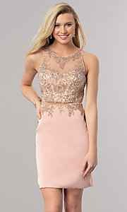 Image of mock two-piece short homecoming dress with sheer waist. Style: DQ-2000 Detail Image 3