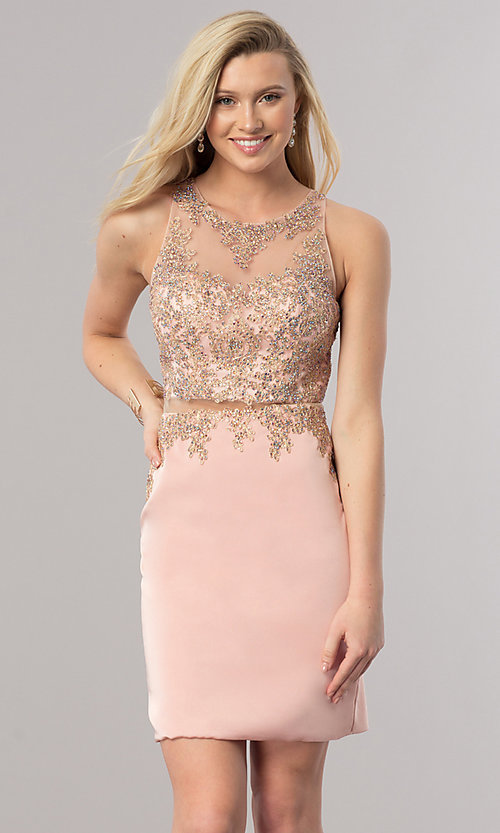 Image of mock two-piece short homecoming dress with sheer waist. Style: DQ-2000 Detail Image 1
