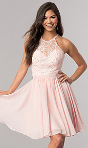 Image of short chiffon homecoming dress with illusion bodice. Style: DQ-2010 Detail Image 2
