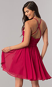 Image of short chiffon homecoming dress with illusion bodice. Style: DQ-2010 Back Image