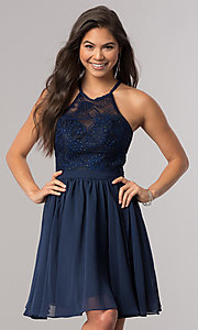 Image of short chiffon homecoming dress with illusion bodice. Style: DQ-2010 Detail Image 1