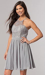 Image of short chiffon homecoming dress with illusion bodice. Style: DQ-2010 Detail Image 3
