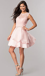 Image of lace-bodice short homecoming dress with satin skirt. Style: DQ-2011 Detail Image 2