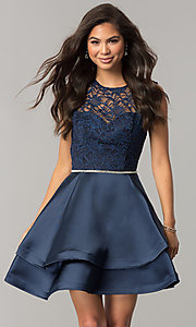 Image of lace-bodice short homecoming dress with satin skirt. Style: DQ-2011 Front Image